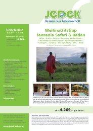 Weihnachtstipp Tanzania Safari & Baden  € 4.269,-