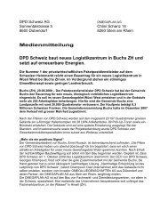 Medienmitteilung DPD Schweiz baut neues Logistikzentrum in