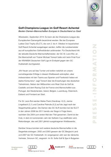 Golf-Champions-League im Golf Resort Achental