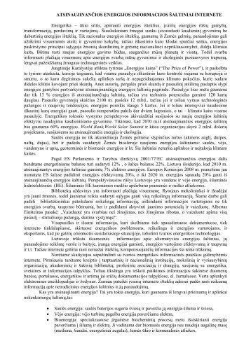 Atsinaujinančios energijos informacijos šaltiniai internete - Lietuvos ...