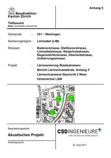 Tiefbauamt Anhang 5 Gemeinde : 251 – Weiningen ...