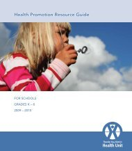 Health Promotion Resource Guide - Thunder Bay District Health Unit