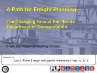 A Path for Freight Planning— - Tampa Bay Regional Planning Council