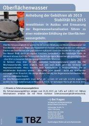 Hinweis zu Oberflächenwassergebühren - TBZ Flensburg