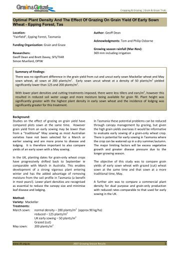 Optimal Plant Density And The Effect Of Grazing On Grain Yield Of ...