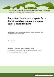 Socio-economic impacts of land use change in ... - CRC for Forestry