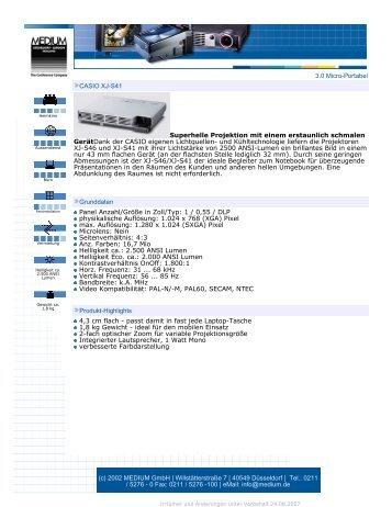 3.0 Micro-Portabel CASIO XJ-S41 Superhelle ... - EDV und Büro 2000
