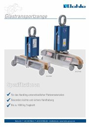 Spezifikationen Glastransportzange - Bohle AG