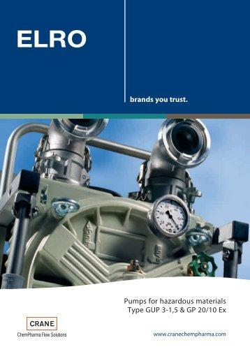 ELRO® Pumps for hazardous materials Type GUP 3-1,5 & GP 20/10 ...