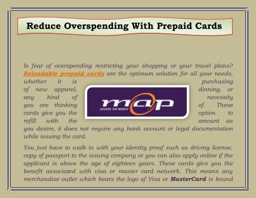 Reloadable Prepaid Cards >> Reduce Overspending With Prepaid Cards