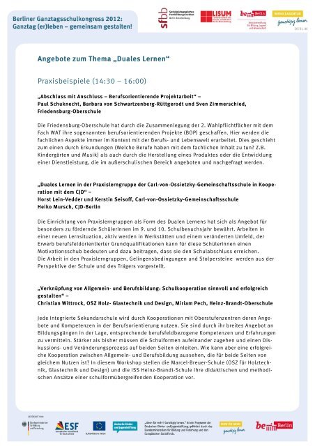 Angebote Zum Thema Duales Lernen Praxisbeispiele 14 Berlin