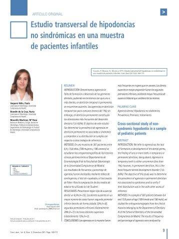 Estudio transversal de hipodoncias no sindrómicas en una ... - COEM
