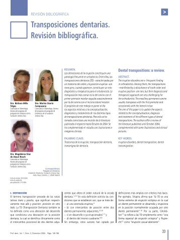 Transposiciones dentarias. Revisión bibliográfica. - COEM