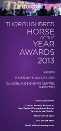 HORSE YEAR AWARDS 2013 - New Zealand Thoroughbred Racing