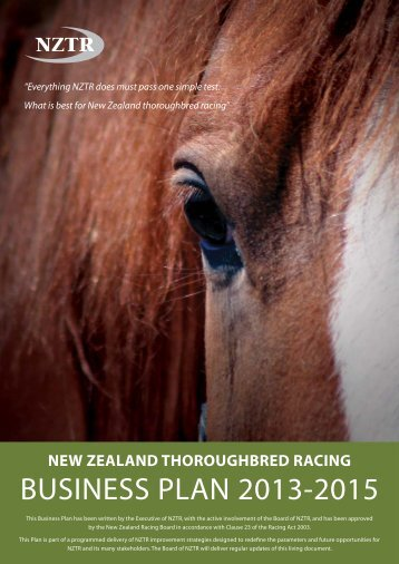NZTR Business Plan 2013-2015 - New Zealand Thoroughbred Racing