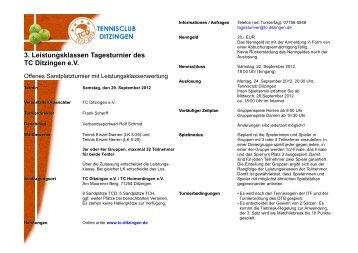 Ausschreibung - Tennisclub Ditzingen