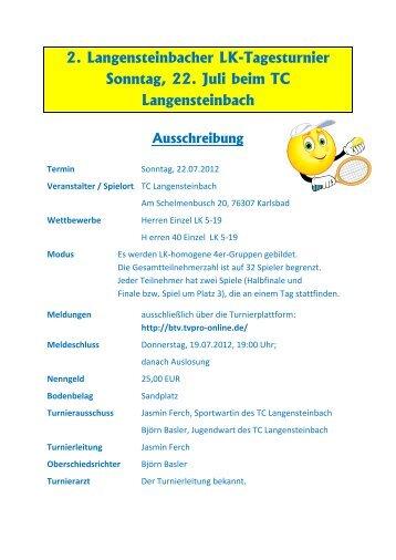 2. Langensteinbacher LK-Tagesturnier Sonntag, 22. Juli beim TC ...