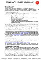 TCM Newsletter Juli 2010 Liebe Vereinsmitglieder ... - TC Menden