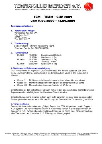Ausschreibung - TC Menden