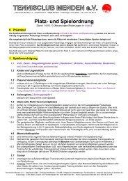Platz- und Spielordnung vom 14.03.2013 - TC Menden