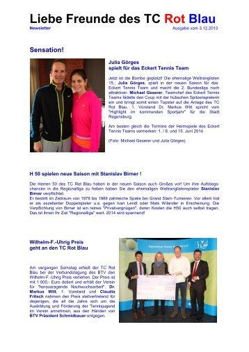 Aktueller Newsletter - TC Rot-Blau Regensburg