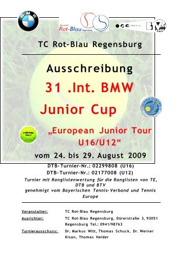 TC Rot-Blau Regensburg Ausschreibung 31 .Int. BMW Junior Cup