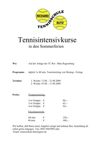 Tennisintensivkurse - TC Rot-Blau Regensburg