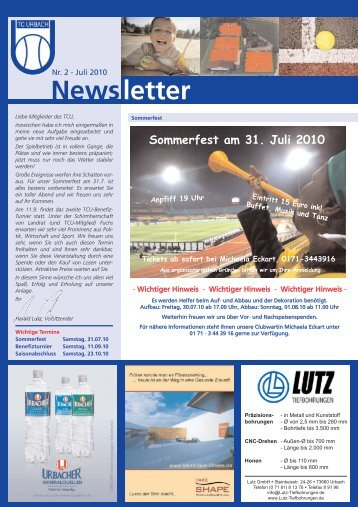 Newsletter Nr. 2 - Juli 2010 - TC Urbach