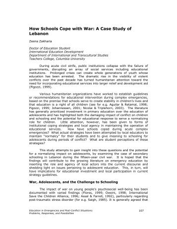 How Schools Cope with War: A Case Study of Lebanon - Teachers ...