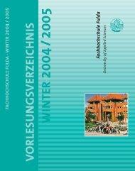 V O R LESU NGSVERZEIC H N IS WIN TER - Hochschule Fulda