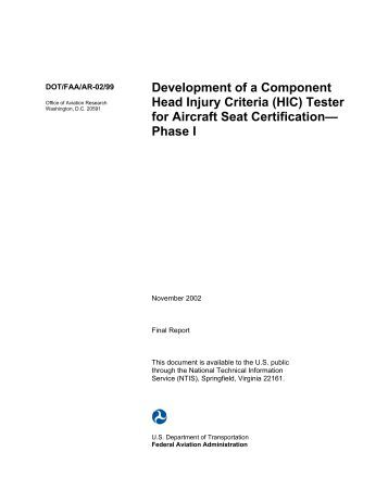 (HIC) Tester for Aircraft Seat Certification— Phase I - FAA