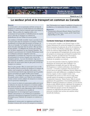 Le secteur privé et le transport en commun au Canada