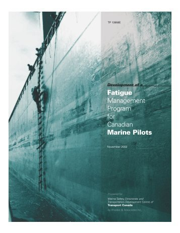 Fatigue Management Program for Canadian Marine Pilots