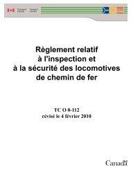 Règlement relatif à l'inspection et à la sécurité des locomotives de ...