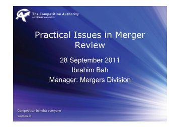 Practical Issues in Merger Review - The Competition Authority