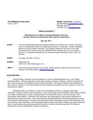 FOR IMMEDIATE RELEASE MEDIA CONTACTS - George ...