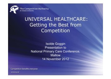 2012-11-14 Universal Healthcare - Getting the best from competition ...