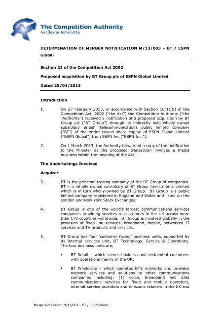 M-13-003 - BT ESPN - PUBLIC pdf - The Competition Authority