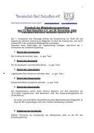 Protokoll der MV 2009 vom 26.11.2009 - TC Bad Salzuflen eV