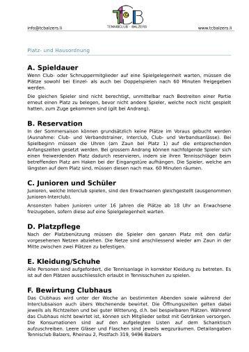 Platz- und Hausordnung - TC Balzers