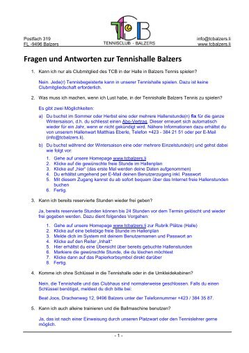 Fragen und Antworten zur Tennishalle Balzers - TC Balzers