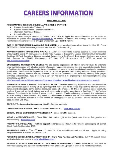 POSITIONS VACANT ROCKHAMPTON REGIONAL ... - Tccr.com.au