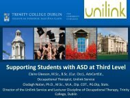 Supporting students with ASD at third level - Trinity College Dublin