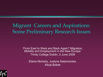 Migrant Careers and Aspirations - Trinity College Dublin