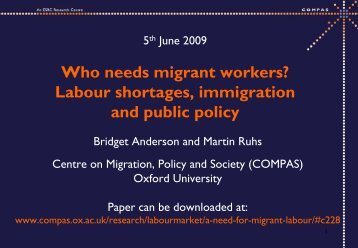 A Need for Migrant Labour? Staff Shortages, Immigration and Public ...