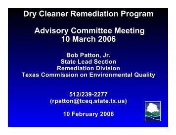 Dry Cleaner Remediation Program Advisory ... - TCEQ e-Services