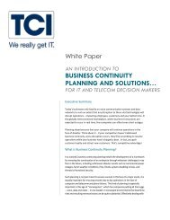 An Introduction to Business Continuity Planning and Solutions - TCI
