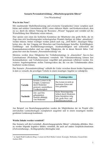 1 Szenario Personalentwicklung: U201eMitarbeitergespräche Führen .