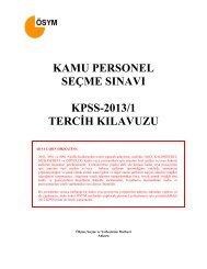 KPSS-2013/1 Tercih Kılavuzu - Ösym