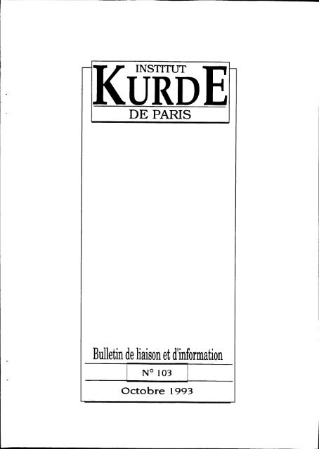 Bulletin De Liaison Et Dinformation Institut Kurde De Paris